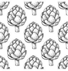 Artichoke hand drawn seamless pattern vector