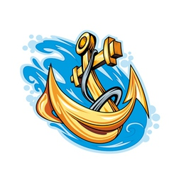 anchor in sea water vector image