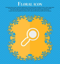 Magnifying glass zoom floral flat design on a blue vector
