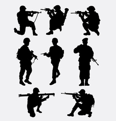Army military training action silhouette vector