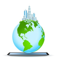 Planet Earth on Tablet Computer vector image
