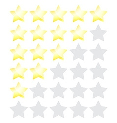 Star rating with gold stars vector
