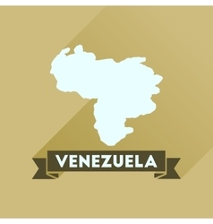 Flat icon with long shadow map of Venezuela vector image