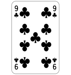 Poker playing card 9 club vector
