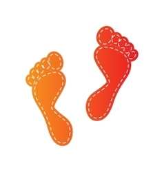 Foot prints sign orange applique isolated vector