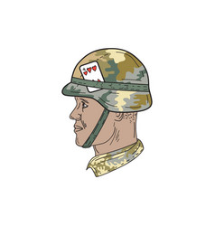 African american us army soldier helmet playing vector