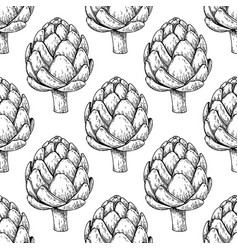 artichoke hand drawn seamless pattern vector image