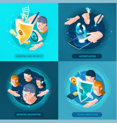 Biometric authentication isometric icons square vector