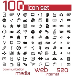 black 100 web and media icons set vector image vector image