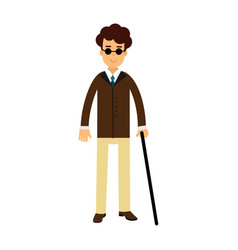 blind young man in dark glasses and walking stick vector image vector image