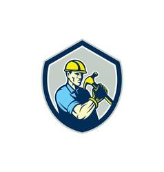 Builder Carpenter Holding Hammer Shield Retro vector image vector image