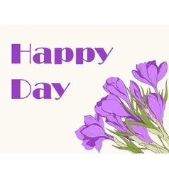 Card with hand drawn crocus spring flowers vector