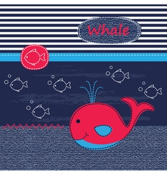 Cute baby background with whale vector