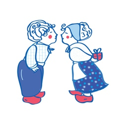 Delft blue kissing pair card vector