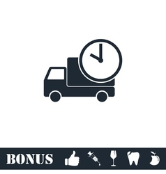 Delivery time icon flat vector