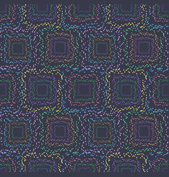 dotted square seamless pattern on dark background vector image vector image