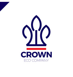 eco nature green leaves crown logo vector image