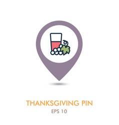 Glass of fresh grape juice mapping pin icon vector