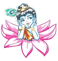 God krishna in lotus flower vector