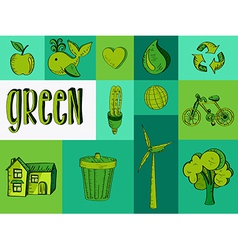 Hand drawn green resources icons vector image