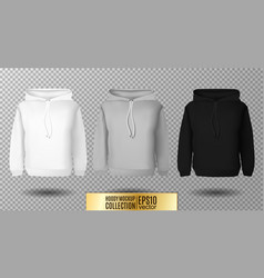 Hoody set realistic mockup long sleeve hoody vector