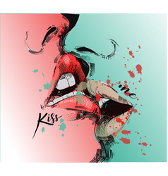 kissing lips vector image vector image