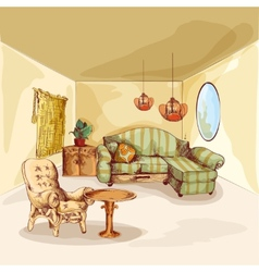 Living Room Interior Sketch vector image