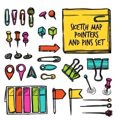 Map Pointers And Pins Sketch vector image vector image