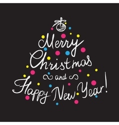 Merry Christmas and happy new year handmade vector image
