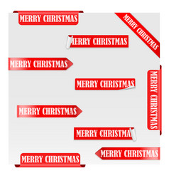 merry christmas red label ribbons vector image