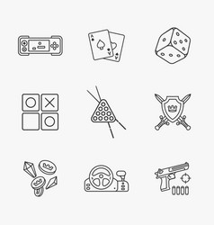 Nine flat game icons vector
