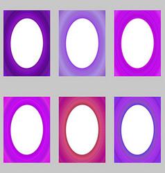 Purple abstract digital art brochure frame set vector