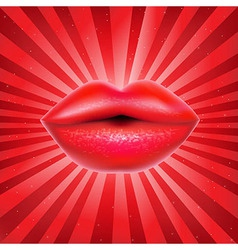 Red lips with sunburst vector