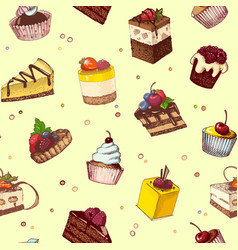 seamless background with sketches of cakes and vector image