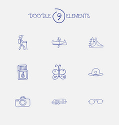 Set of 9 editable travel icons includes symbols vector