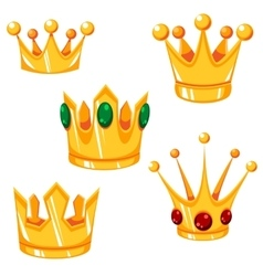 Set of cartoon crowns with green and red vector image