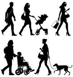 several people and one dog - silhouettes vector image vector image