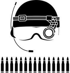 stencil of kombat helmet vector image vector image