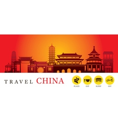 Travel China City Silhouette with Icons vector image vector image