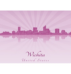 Wichita skyline in purple radiant orchid vector image vector image