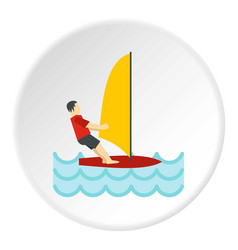 Windsurfing icon circle vector
