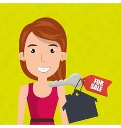 Woman house key rent vector