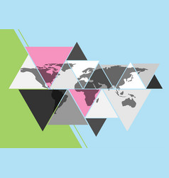 world map in triangle shape vector image vector image