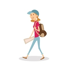 Young happy woman traveler with backpack and map vector image