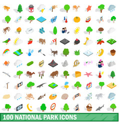 100 national park icons set isometric 3d style vector