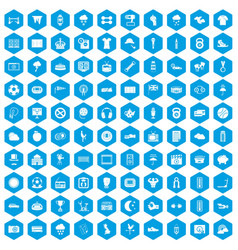 100 soccer icons set blue vector
