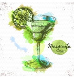 Watercolor cocktail margarita sketch vector