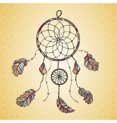 Hand drawn native indian-american dream catcher vector