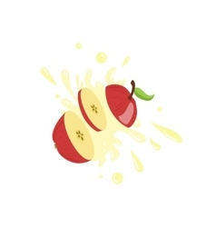 Apple Cut In The Air Splashing The Juice vector image
