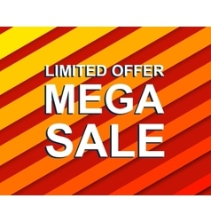 Red striped sale poster with limited offer mega vector